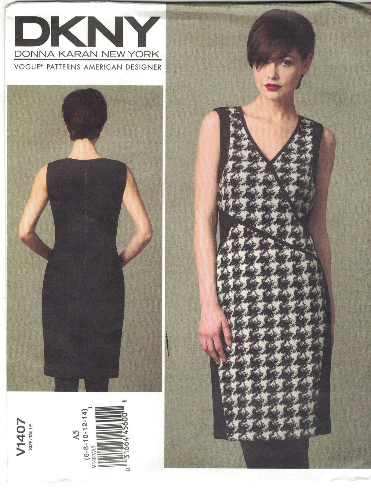 Primary image for Vogue 1407 DKNY Donna Karan Mock Wrap Sleeveless Dress Pattern Uncut Choose Size
