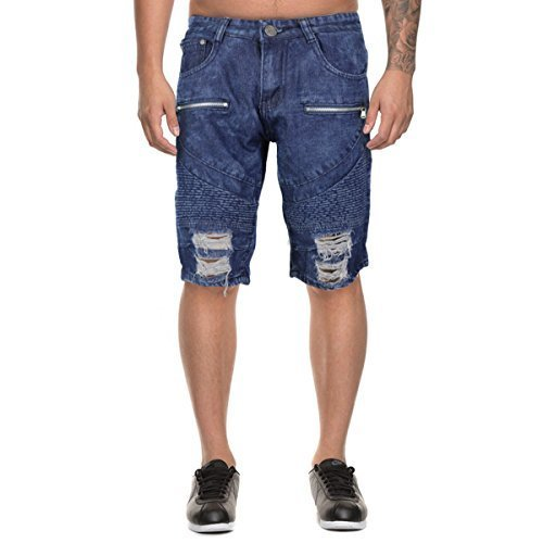 LR Scoop Men's Moto Quilted Distressed Skinny Jean Denim Shorts DZM-80 (34, Medi