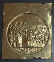 Judaica Israel Bezalel Jerusalem View Copper Relief Plaque Vintage Antique  image 4