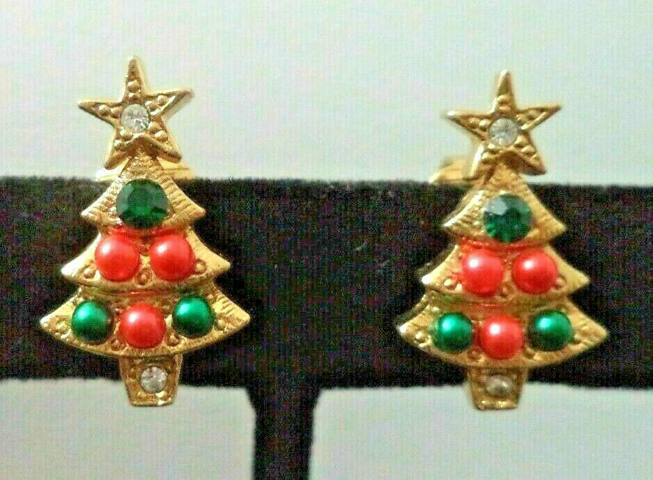 "Vintage Signed Avon Rhinestone Red Green Christmas Tree Earrings 7/8th"" - $14.84"