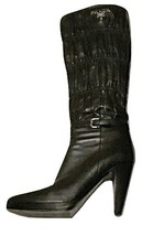 Authentic Prada Black Scrunch Leather Knee High Boots Womens Size 7.5 - $345.00