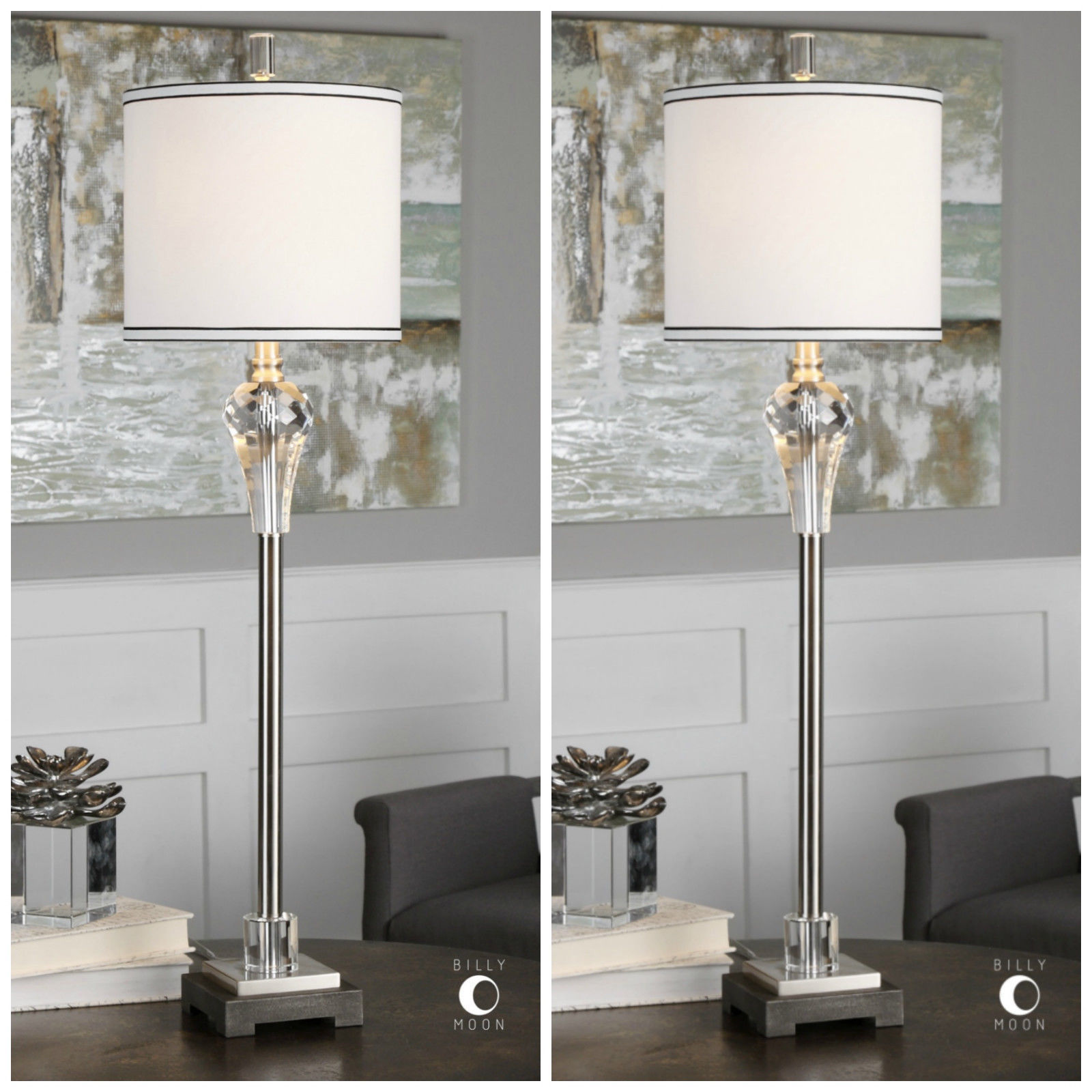 """TWO TALL MODERN 39"""" CUT CRYSTAL TABLE LAMP BRUSHED NICKEL ..."""