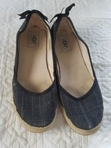 UGG Australia Indah Slip On Espadrilles Black Canvas Back  Bow Sz 6.5 Fl... - $287,05 MXN