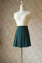 DARK GREEN Pleated Skirt Women Girls Campus Style Pleated Mini Skirt - Plus Size image 3