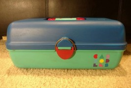 Vintage Caboodles Teal Pink Blue Makeup Case - $24.00