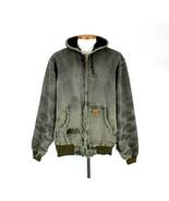 Vtg 90s Carhartt Destroy Distressed Green Canvas Work Jacket Hood Mens X... - $29.69