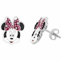 Disney Minnie Mouse Sterling Silver Pink and White Crystal Stud Earrings - $28.99