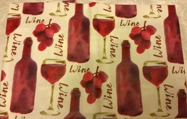"FLANNEL BACK VINYL TABLECLOTH 52""x70"" Oblong, GRAPES, WINE BOTTLES & GLA... - $15.83"