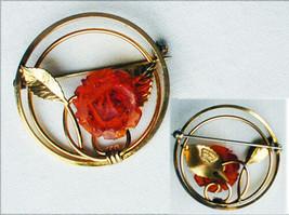 Gold filled 1/20 KT circle pin plastic amber rose leaf design beautiful ... - $14.36