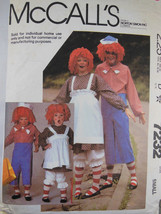 McCall's Pattern 7232 Raggedy Ann & Andy Costumes Misses Men Size Small Complete - $4.94