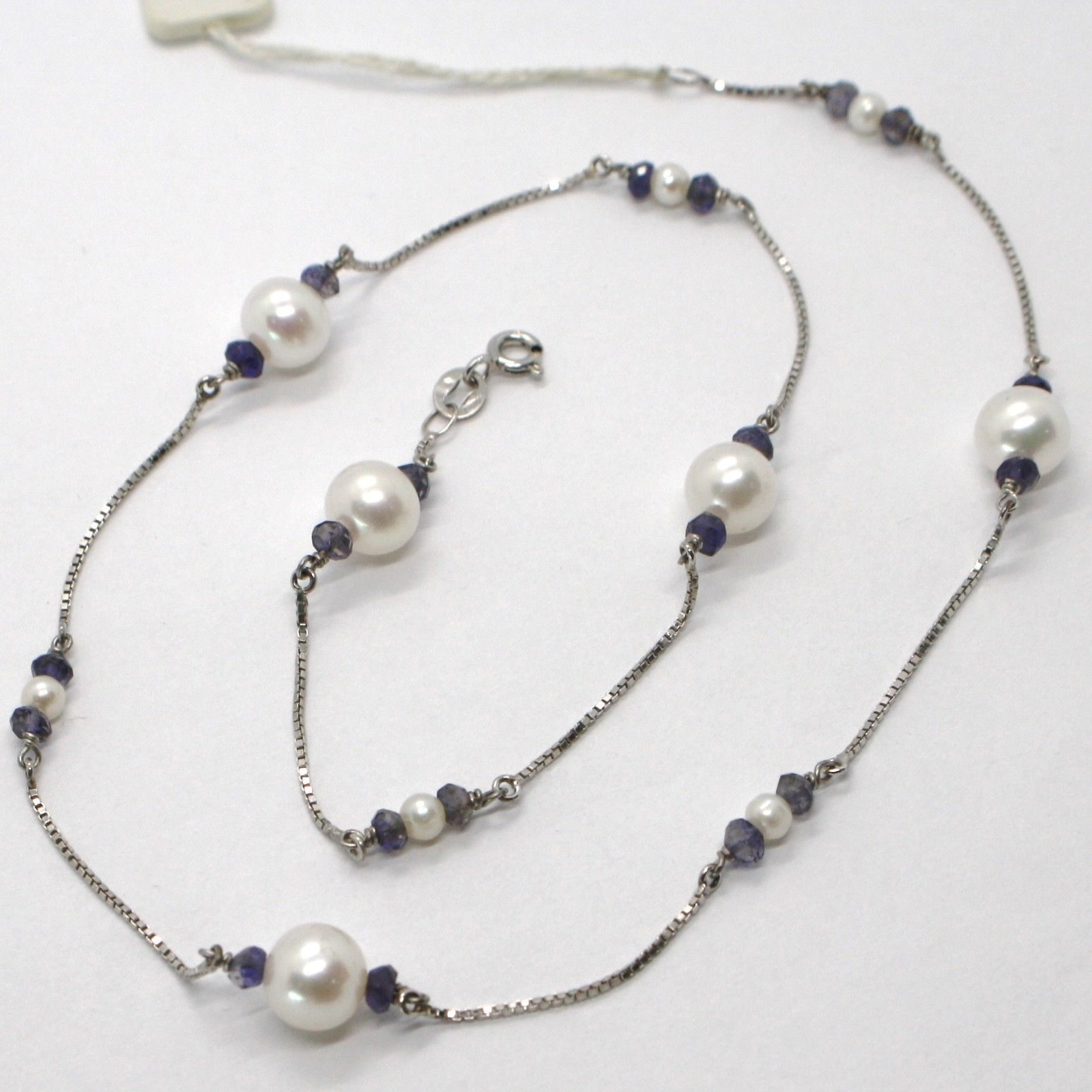 18K WHITE GOLD NECKLACE VENETIAN CHAIN ALTERNATE FACETED BLUE IOLITE AND PEARL