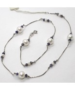 18K WHITE GOLD NECKLACE VENETIAN CHAIN ALTERNATE FACETED BLUE IOLITE AND... - $379.05