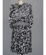 VTG JOI LEE Black White Ruffle Pleated Floral Georgette Gypsy Boho Dress... - $48.99
