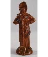 Antique Manganese Glazed Redware Figure of Woman Wearing Bonnet Holding ... - $450.00