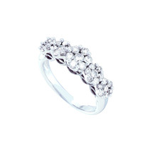 14k White Gold Womens Round Diamond Five Flower Cluster Ring 1.00 Cttw - £933.21 GBP