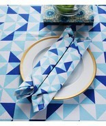 Small World Blue & White Printed Dinner Napkin Set of 4 - £17.27 GBP