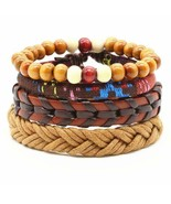 4PCS BRACELET SET Mix Color Wood Bead Leather Hemp Braided Adjustable Me... - $9.95