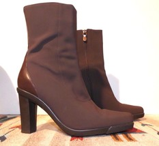Donald J Pliner Italy Brown Stretch Fabric Heeled Mid-Calf Boots Sz. 7M MINTY! - $44.17