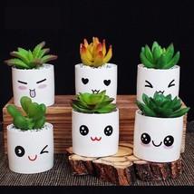 Ceramic Decorative Flower Pot Mini Fleshy Expression Flowerpots Succulen... - €33,31 EUR