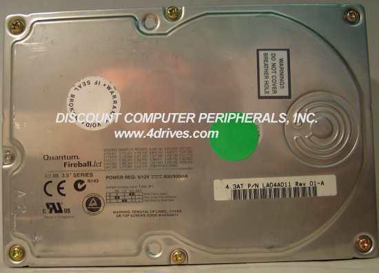 "4.3GB 3.5"" IDE 40pin Hard Drive Quantum LCT08-4300 LA04A011 Free USA Ship"