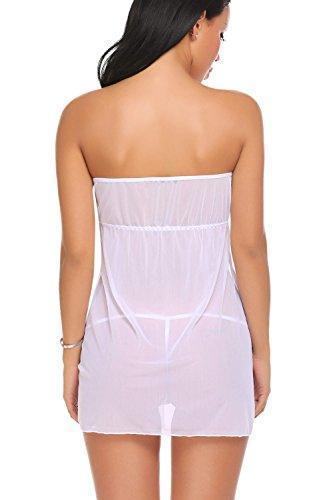 d09f9de7a2e Women Lingerie Strapless Babydoll Split Front Sleepwear Mini Nightgown