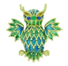 Genuine Natural 18k Yellow Gold Plique-A-Jour Enamel Owl Pin (#J1724) - $4,250.00