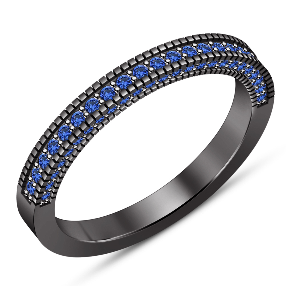 14k Black Gold Plated 925 Silver His & Hers Trio Blue Sapphire Wedding Ring Set