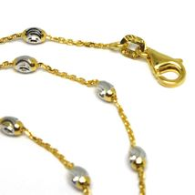 """18K YELLOW & WHITE GOLD ROLO ALTERNATE CHAIN NECKLACE 3mm FACETED OVAL BALLS 18"""" image 3"""