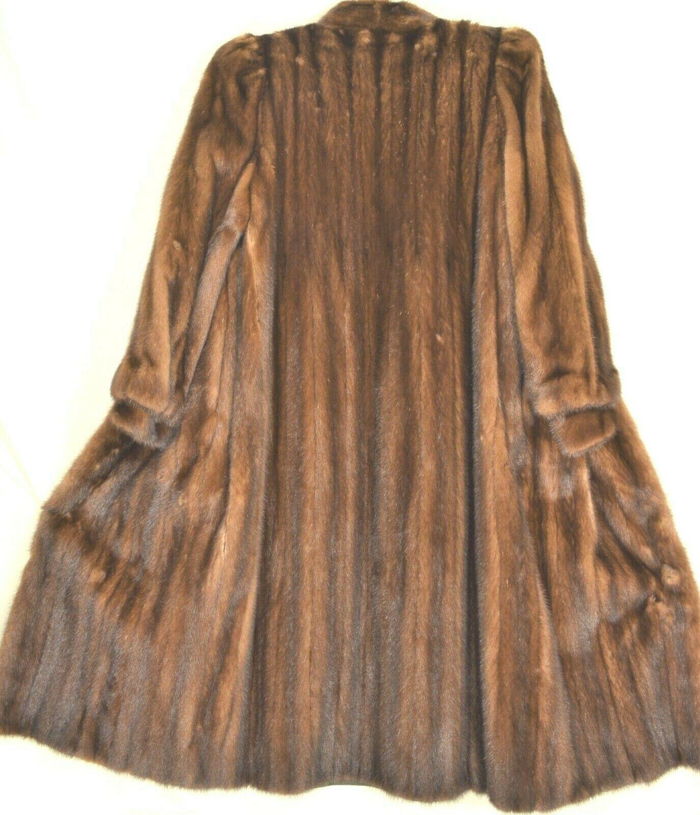 France Olivia fur mink coat FR 44 full length mahogany chic sophisticate brown
