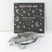 Alex and Ani Set Of 3 Crystal Snowflake Expandable Bracelet A17SETSF03RS Silver - $58.20