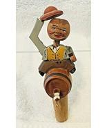 Carved Wood Bottle Cork  Man Sitting On Barrel Keg Tipping Hat Holding a... - $38.12