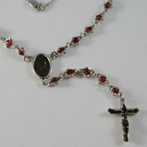 925 SILVER NECKLACE, RED RUBY, VIRGIN MARY MEDAL, CROSS BY ZANCAN MADE IN ITALY image 3