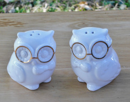 Set of Wise Owl Salt and Pepper Shakers with Gold Spectacles - White Por... - $11.90