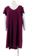 H Halston Petite Knit Crepe Dress Cutout Royal Garnet PM NEW A308103 - $31.66