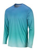 Sun Protection Long Sleeve Dri Fit Blue Mist Teal fade sun shirt UPF 50+ image 2
