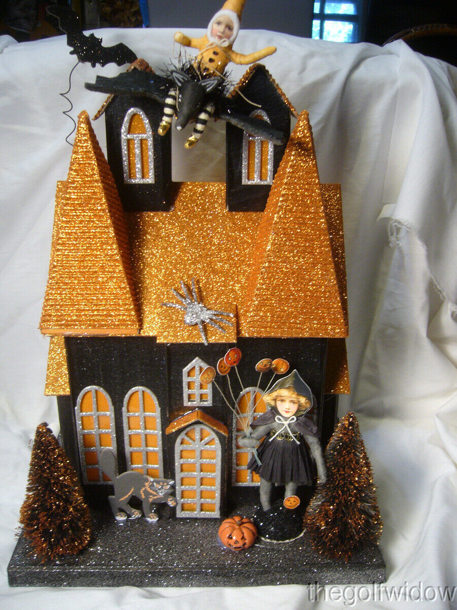 Halloween Haunted House with Witch and Child on Bat Spun Cotton Lighted