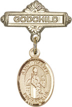 14K Gold Baby Badge with St. Walter of Pontnoise Charm Pin 1 X 5/8 inch - $468.56