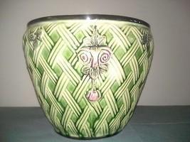 "Vintage Weller Jardiniere Basket Weave Pattern, Zona, 7"" high, 8"" radius - $75.00"