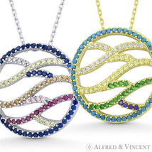 Criss-Cross Wavy Line Circle CZ Crystal Necklace Pendant in .925 Sterling Silver - $32.49