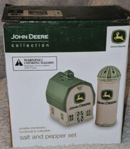 John Deere LP51458  Barn Silo Stoneware Salt Pepper Shakers