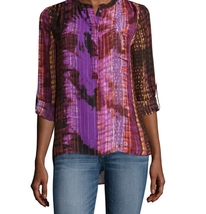 a.n.a Long-Sleeve Shirred-Shoulder Tab Up Popover Top Size S Sierra Purp... - $14.99