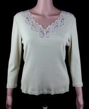 Lauren Ralph Lauren Femmes Beige Polo Coton Manches Longues Taille L - $14.57