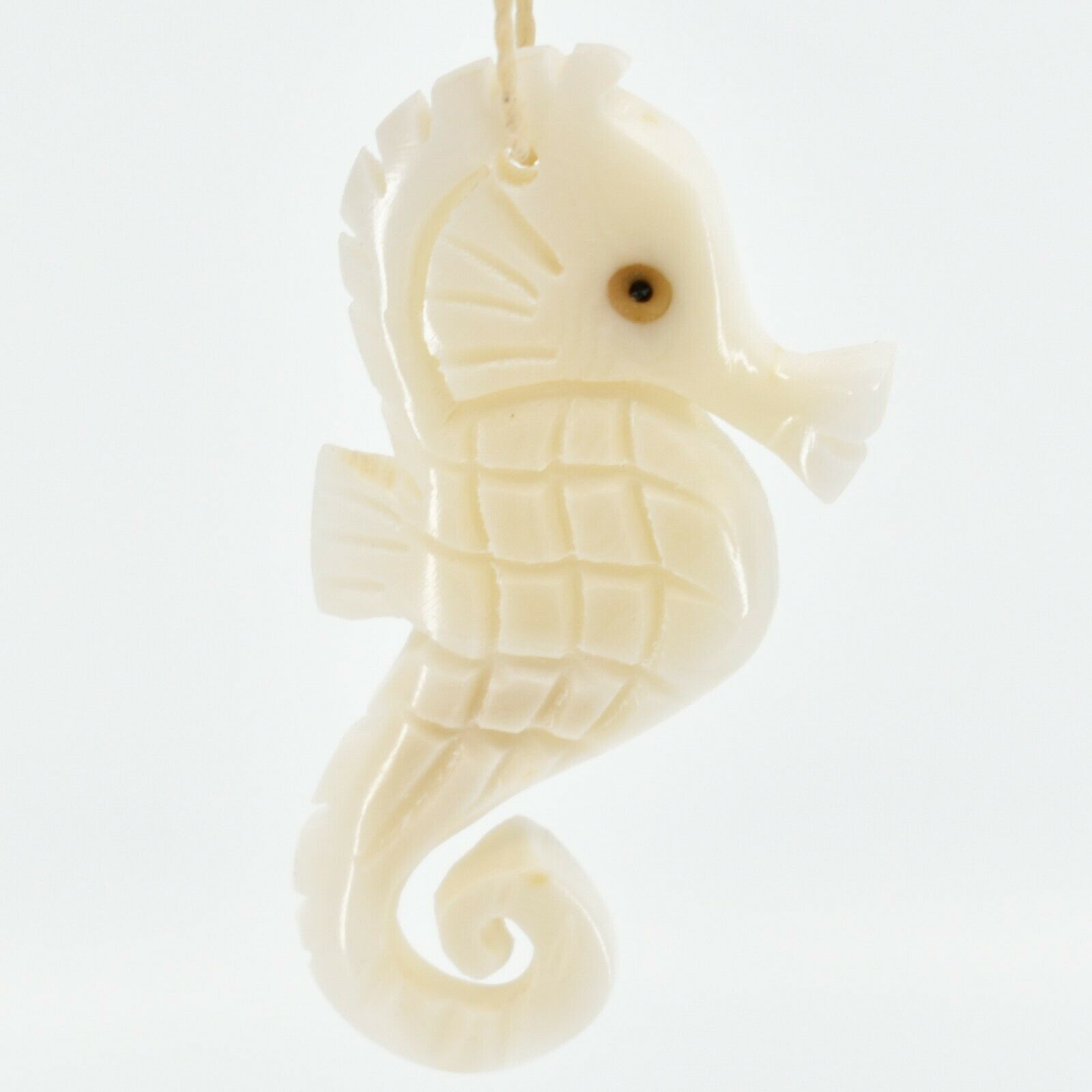 Hand Carved Tagua Nut Carving Seahorse Marine Life Ornament Made in Ecuador