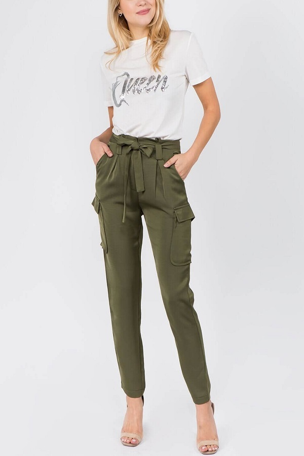 Primary image for  Green pants with bow at front - Pantalon verde con lazo al frente
