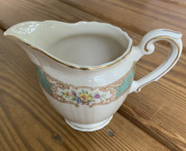 Syracuse China Raleigh Green Federal Shape Creamer Floral Gold Trim - $11.87