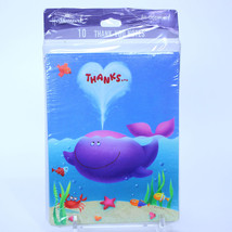 Happy PURPLE WHALE 10 Thank You Cards with Envelopes NEW IN PACK - $9.84