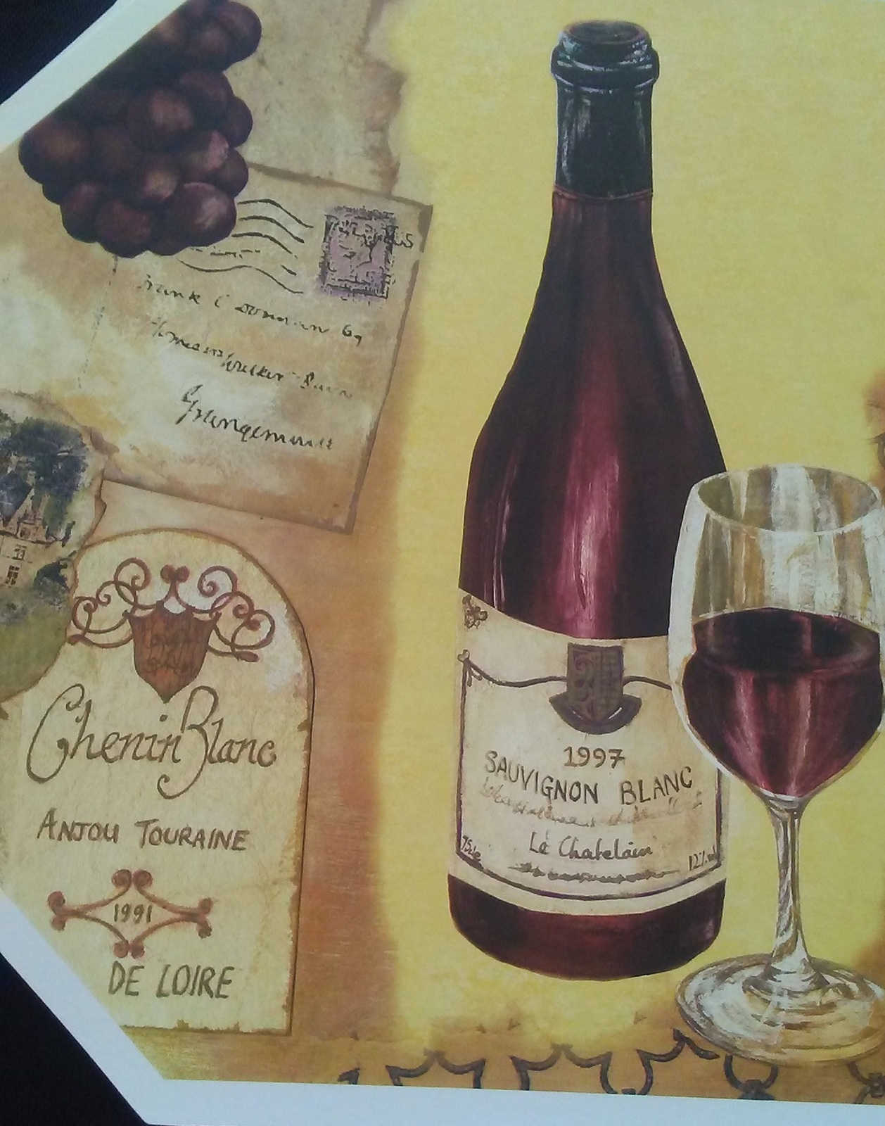 WINE Design PLACEMATS Set of 4 Vinyl Octagon French Italian Vineyard Chateau NEW