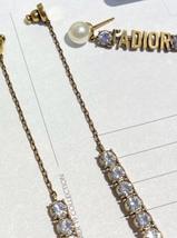 NEW AUTH Christian Dior 2019 J'ADIOR EARRINGS GOLD CRYSTAL DANGLE MULTI STRAND image 6
