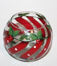 Vintage Christmas Bowl with Painted Holly and Candy Stripes - $15.99