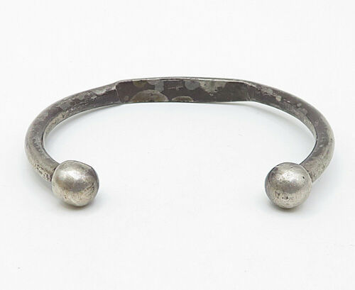 MIDDLE EAST 925 Silver - Vintage Antique Engraved Petite Cuff Bracelet - B4689